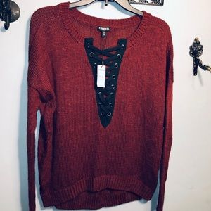 EXPRESS LADIES TIE UP SWEATER NWT